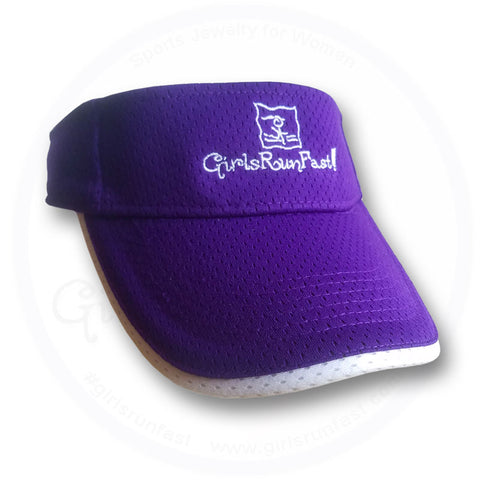 GirlsRunFast.com - Jewelry for runners - Women's Purple/White Running Visors