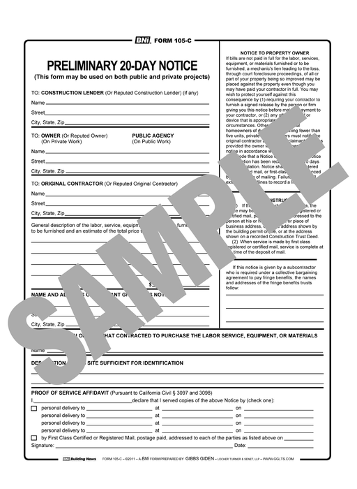 Form 105C: Preliminary Notice