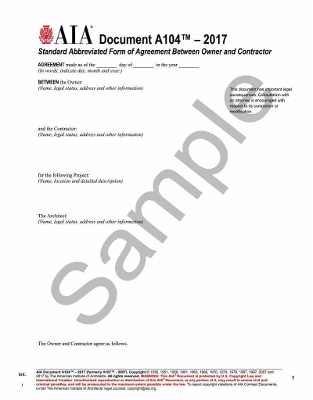 A104- 2017: Standard Abbreviated Form of Agreement Between Owner and Contractor