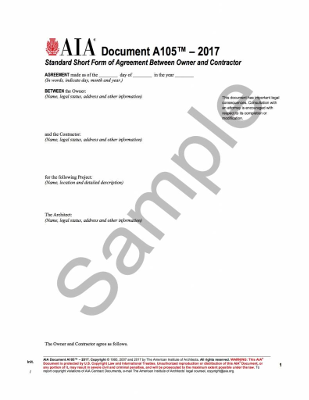 A105-2017: Standard Short Form of Agreement Between Owner and Contractor