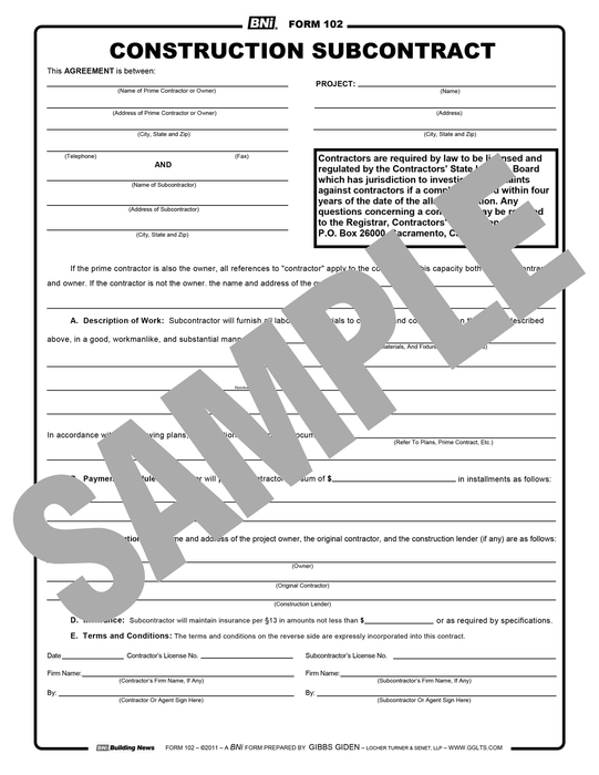 Form 102: Construction Subcontract