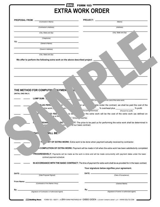 Form 103: Extra Work Order
