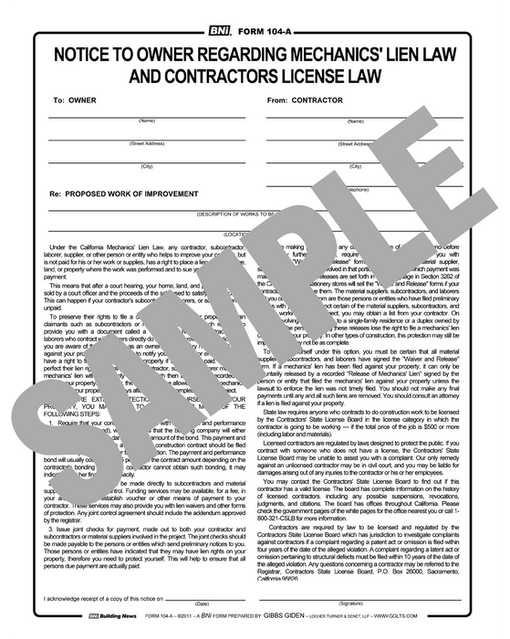 Notice to Owner Regarding Mechanics Lien Law & Contractors License