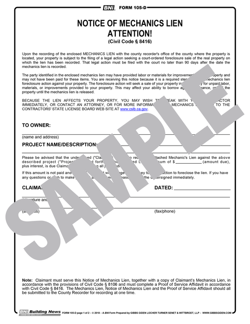 Notice of Mechanic's Lien