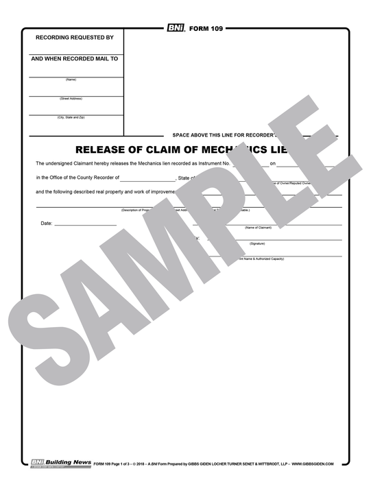 Legal Release of Claim of Mechanics Lien