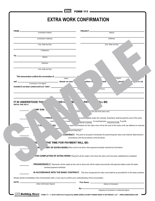Form 111: Extra Work Confirmation (Reusable PDF Format)