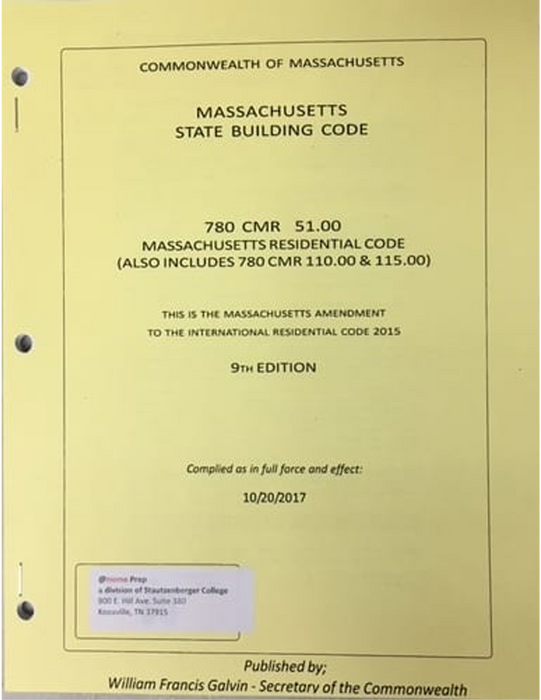 Massachusetts Residential Code Amendment 9th Edition