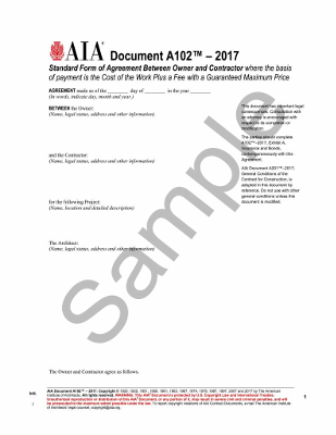 A102- 2017 Standard Form of Agreement