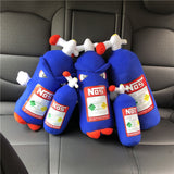 New Creative Plush Toys NOS Nitrous Oxide Bottle Soft Pillow Turbo JDM Cushion Gifts Car Decor Headrest Backrest Seat Neck Rest