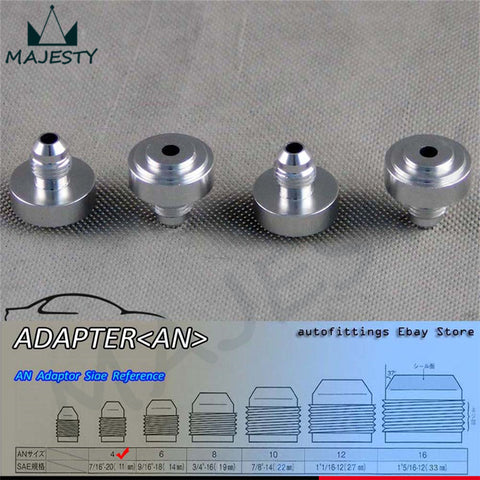 4pcs AN -4 AN4 Male Aluminium Adapter Weld Bung Nitrous Hose Fitting Tank Cell silver