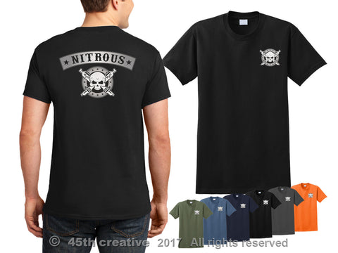 Double Side Nitrous T-Shirt - Nitrous Racing Shirt Nos Drag Race Nitro Drifting Skull Shirt Sweatshirt