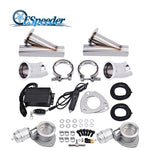 ESPEEDER 2.5'' Exhaust Cutout Stainless Steel Headers Y Pipe Catback Pair Vacuum Valve Electric Cut Out Exhaust Tip Muffler Kit