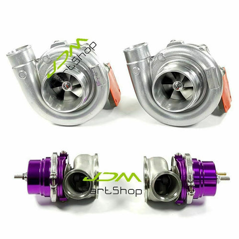 Two T4 Turbos Com A/R0.80 Turbine A/R 0.96 T4 Flange+60mm Wastegate For Firebird Trans-am V8 LS1 LS2 LS7 LS9