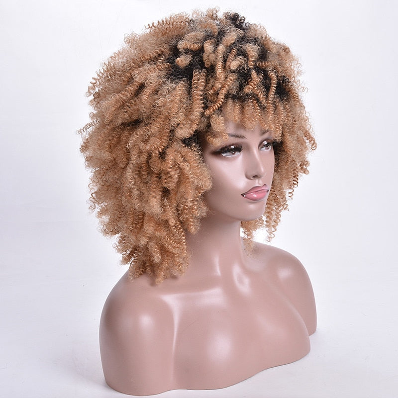 Short Curly Wigs Ombre Blonde Afro Synthetic Wig