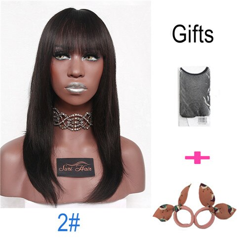 "22"" Female Long Straight Synthetic Wig With Bangs"
