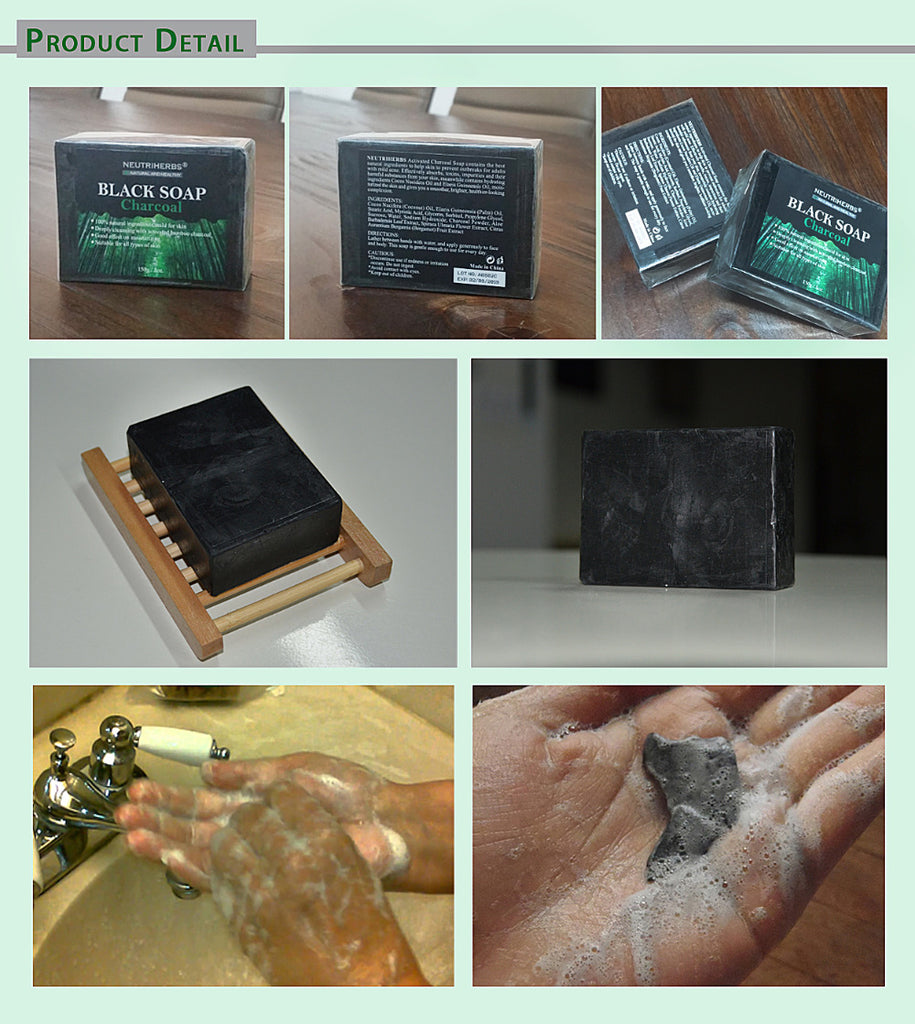 White Soap Black Bamboo Charcoal Handmade Soap