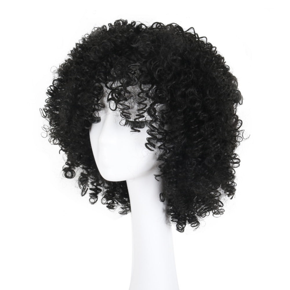 Short Pixie Cut Afro Kinky Curly Synthetic Wigs With Bang