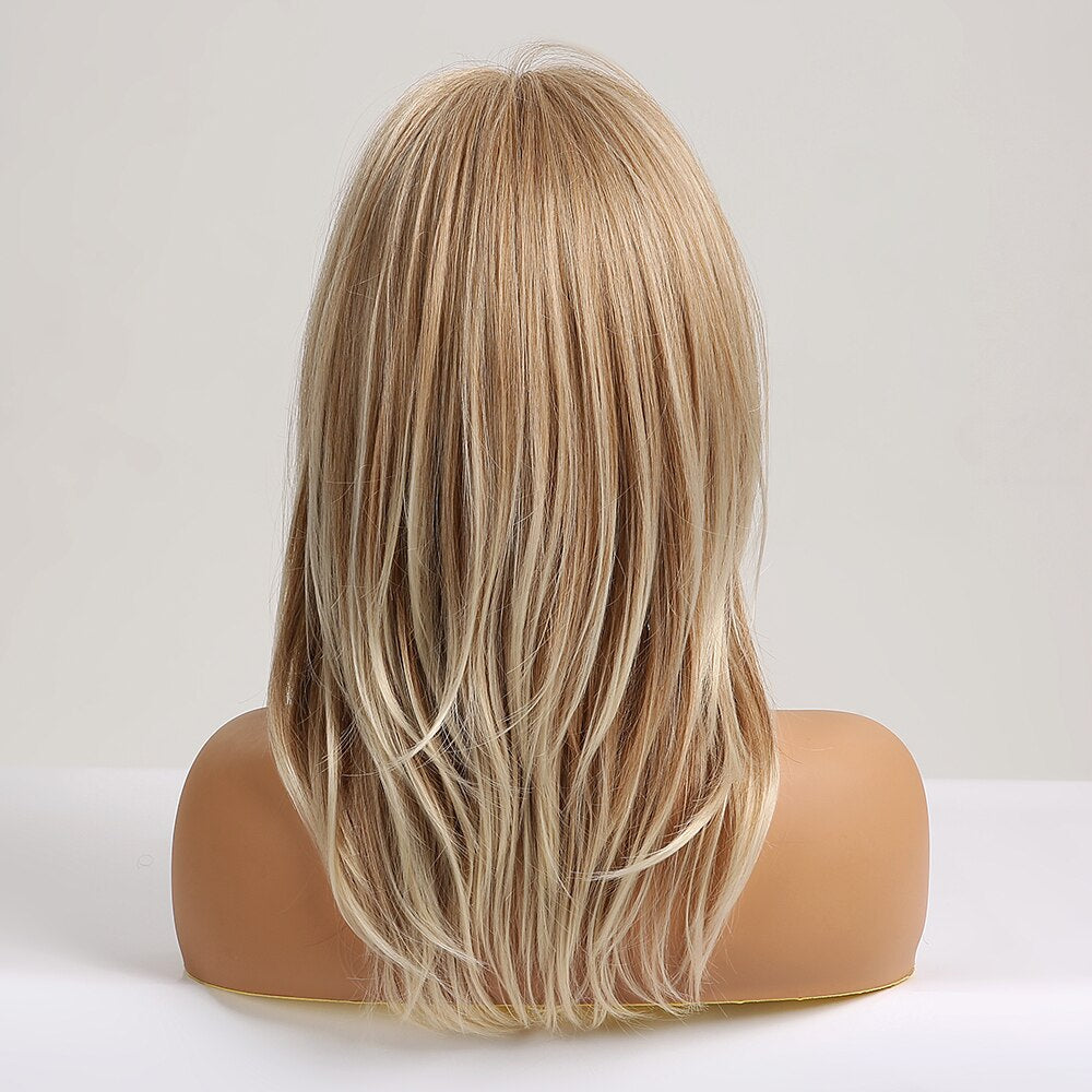 Medium Wavy Synthetic Ombre Natural Blonde Ash Hair Wigs