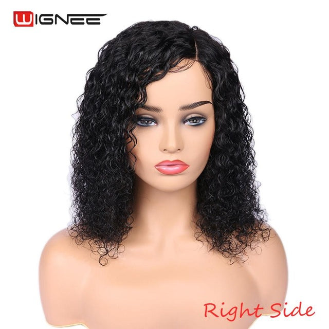 Kinky Curly Side Part Human Hair Wigs With Baby Hair