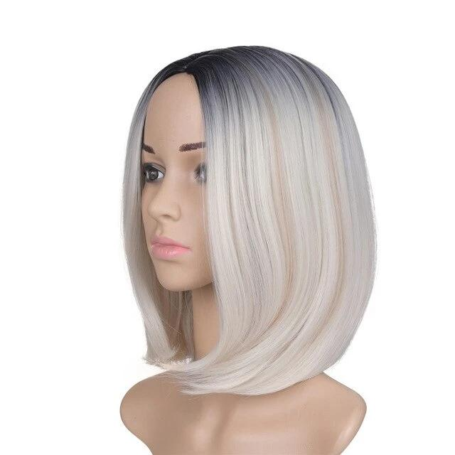 High Temperature Synthetic Straight Short  Wigs