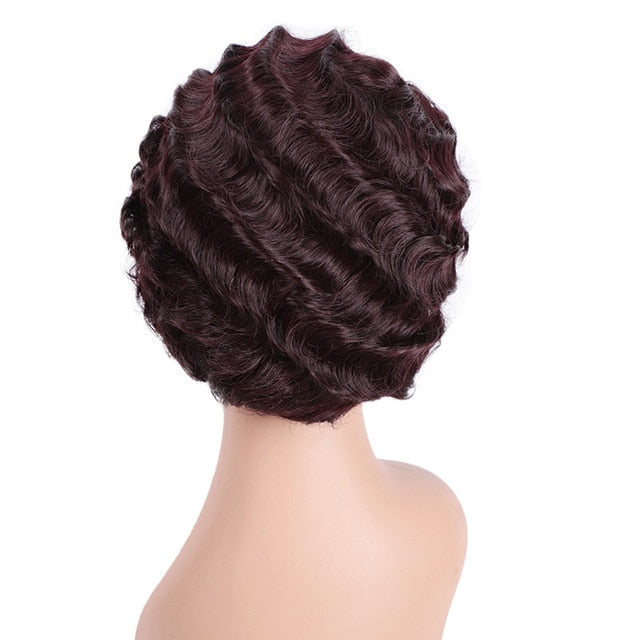Beauty Brown Short Curly Black Wigs