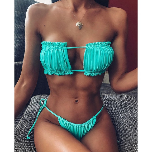 Sexy Bikini 2020 Pleated Bandeau Swimsuit Female Swimwear Women Mini Thong Bikini Set Bather Swimming Beachwear or Bathing Suit