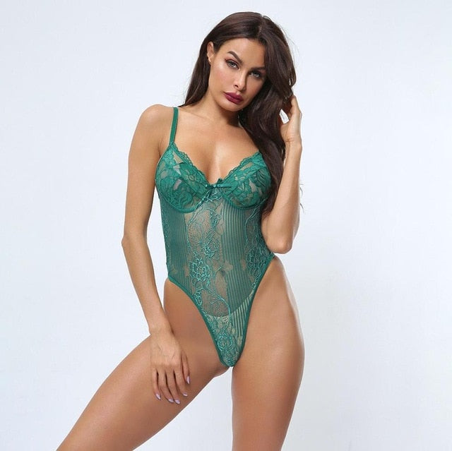 Cryptographic hot sale sheer lace bodysuit women backless transparent mesh bow sexy jumpsuit 2019 catsuit straps bodysuits thong
