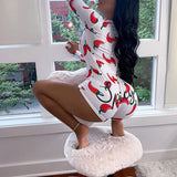 Sexy Onesies For Adults 2020 Newest Autumn Winter Long Sleeve V-neck Funny Pattern Print Pajama Romper Women Christmas Nightwear