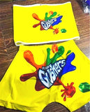 Gushers Two Piece Set Tube Crop Top And Shorts Outfit