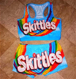 Skittles Blue Two Piece Set Crop Top And High Waist Shorts Outfit