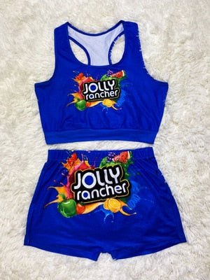 Jolly Rancher Women Two Piece Set Crop Top And High Waist Shorts Outfit