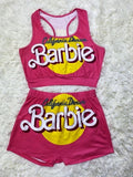 Barbie Women Two Piece Set Crop Top and High Waist Shorts Outfit