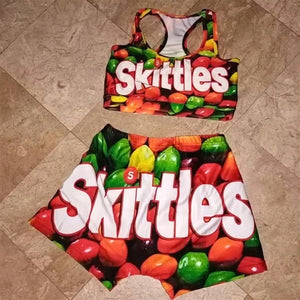 Skittles Two Piece Set Crop Top And High Waist Shorts Outfit