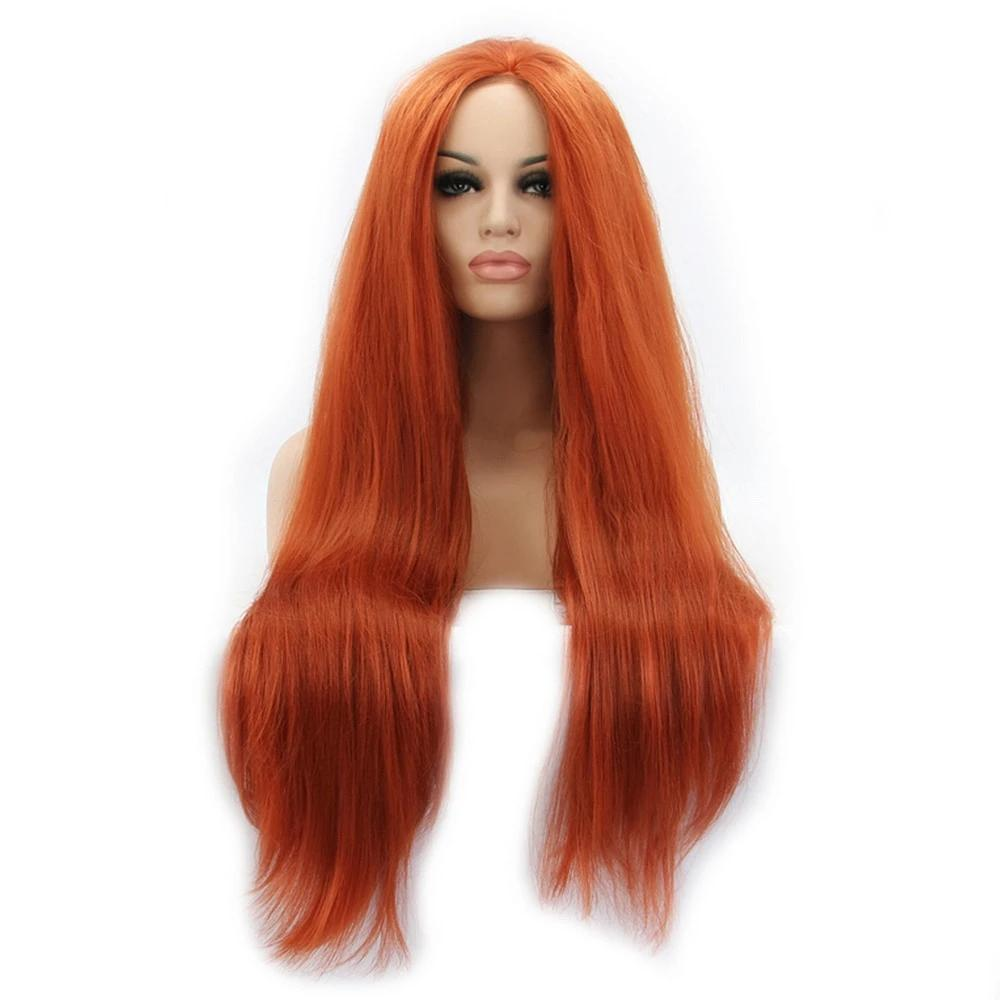 Straight Synthetic Lace Front Wig Long Orange Hair