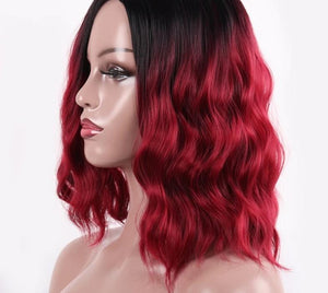 Kinky Curly Wigs Red color For Black Women