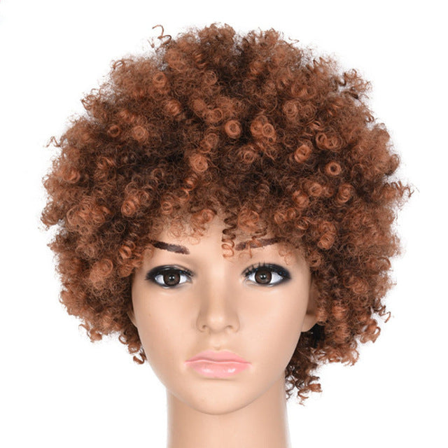 Synthetic Kinky Curly Wig Ombre Short Black Brown Wigs