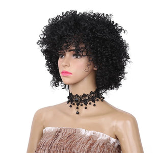 Afro Kinky Curly Wig Short Black Synthetic Wigs