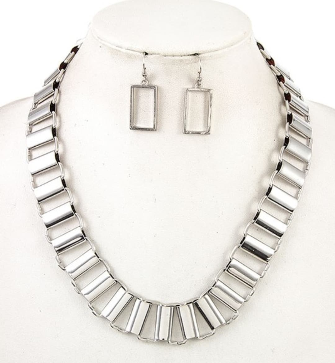 Silver Bars Necklace and Earrings - Altered Apparel Boutique