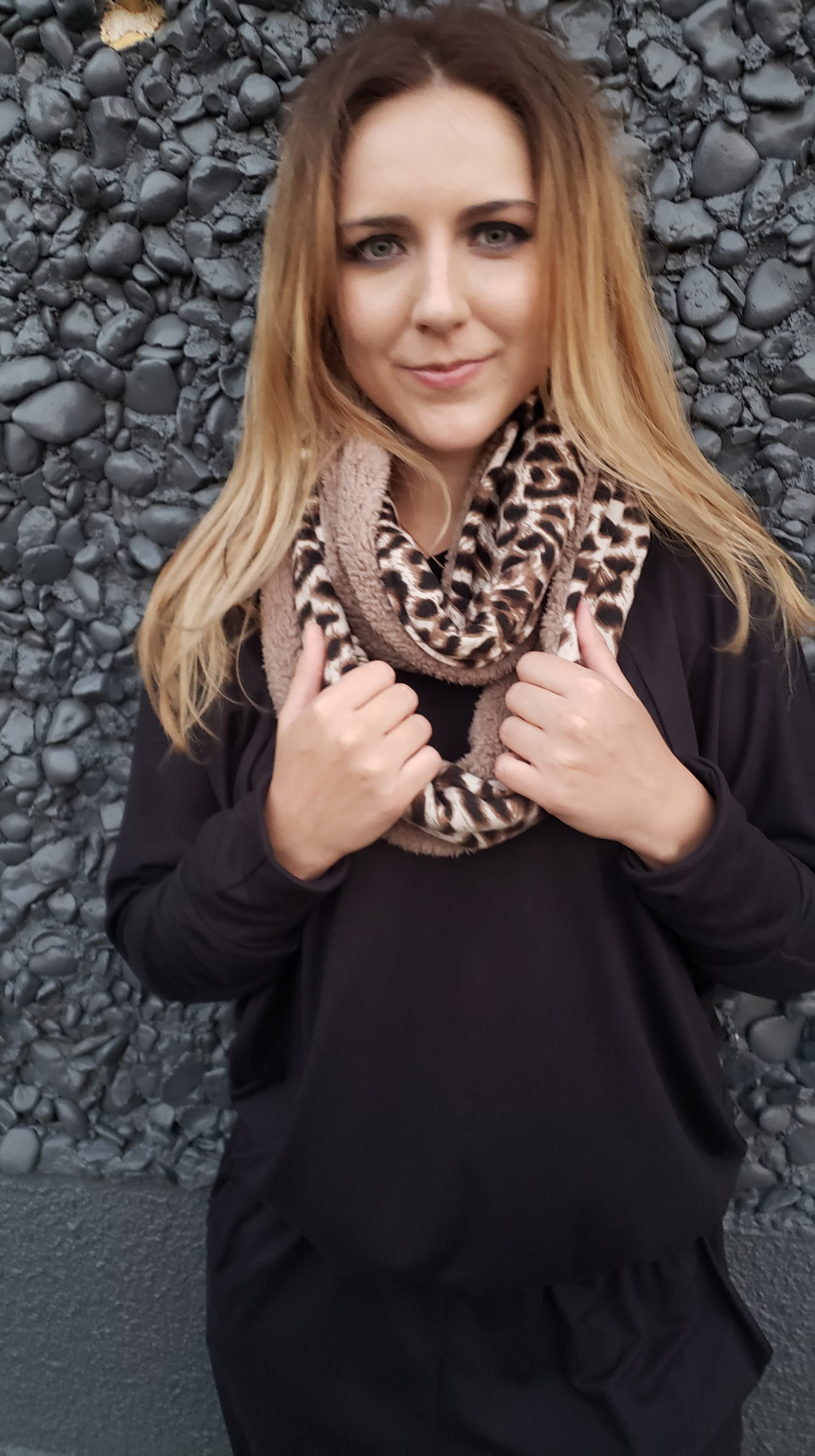 Leopard Infinity Scarf with Cell Phone Pocket