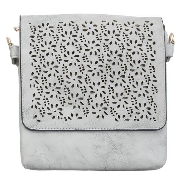 Grey Suede Laser Cut Purse - Altered Apparel Boutique