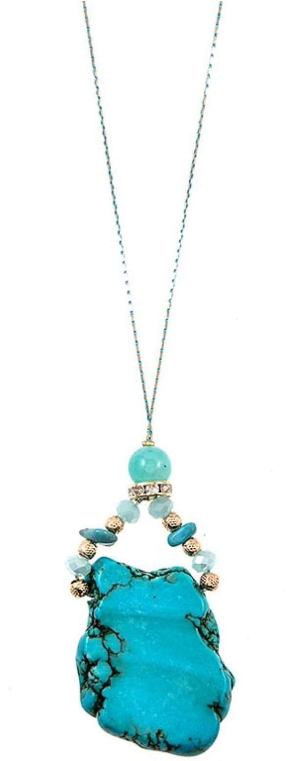 Uncut Turquoise Necklace and Earrings - Altered Apparel Boutique