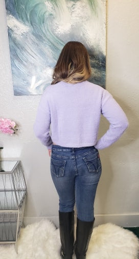 Brittney Fuzzy Purple Sweater - Altered Apparel Boutique