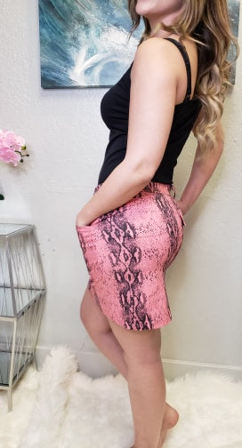 Beyonce - Pink Snakeprint Mini Skirt - Altered Apparel Boutique