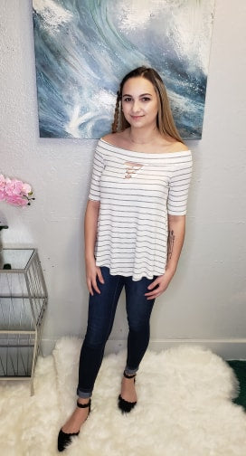 Ivory Stripe Top - Altered Apparel Boutique