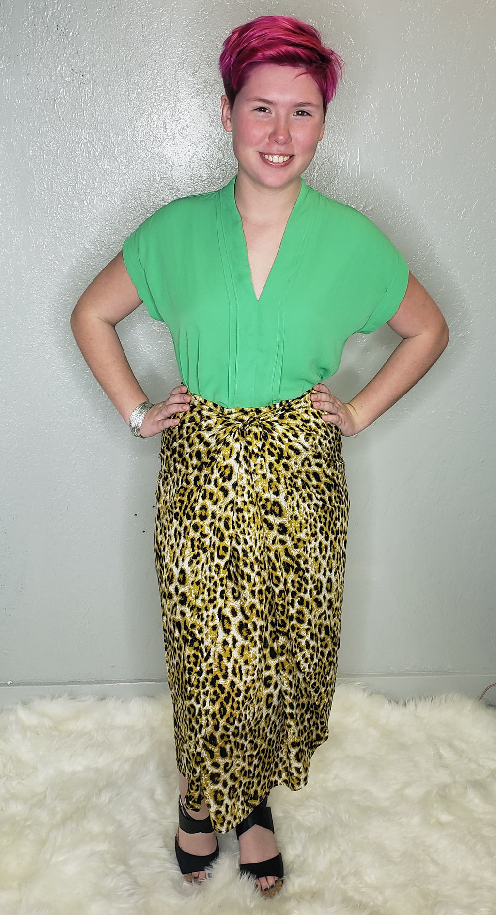 Christi Green Twisted Woven Top - Altered Apparel Boutique