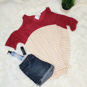 Crimson and Tan Striped Cold Shoulder Top - Altered Apparel Boutique