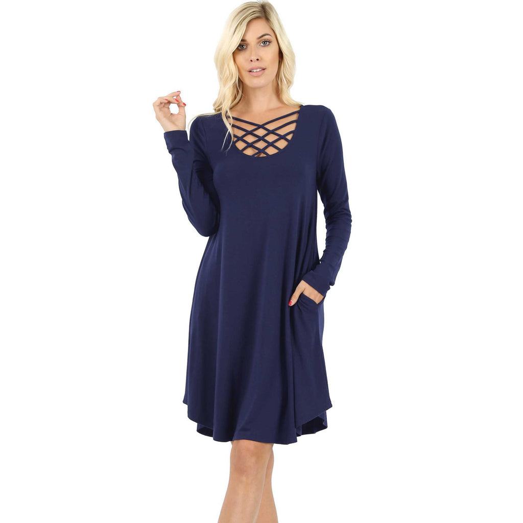 Leslie Navy Dress