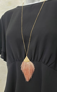 Peach Tassel Necklace - Altered Apparel Boutique