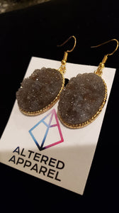 Grey Druzy Earrings - Altered Apparel Boutique