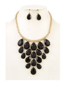 Black Teardrop Necklace - Altered Apparel Boutique